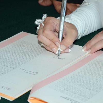 Signature du registre de mariage
