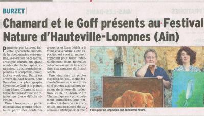 Séverine Le Goff, article du Dauphiné 6 mai 2016