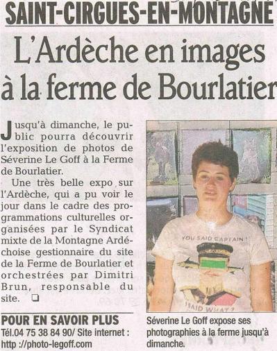 Séverine Le Goff, article du Dauphiné août 2013